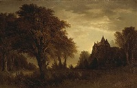 a wooded landscape with a manor house in the distance by thomas lochlan smith