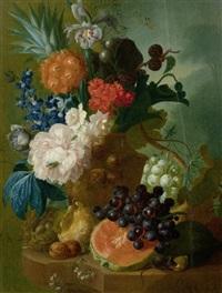 eine pfingstrose, eine iris, eine ananas und brombeeren in einer terracotta vase mit einem vogelnest, einer maus, trauben und walnüssen auf einer steinplatte by jan van os