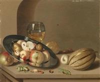 stilleben mit früchten auf einem zinnteller, einem römer, einer melone und einem grashüpfer auf einem tisch by ambrosius bosschaert the younger