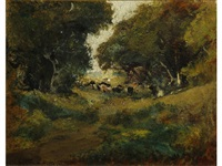 cows grazing along a wooded path by william keith