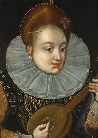 a portrait of a noblewoman playing a lute (+ 3 others; 4 works) by hieronymus francken the elder