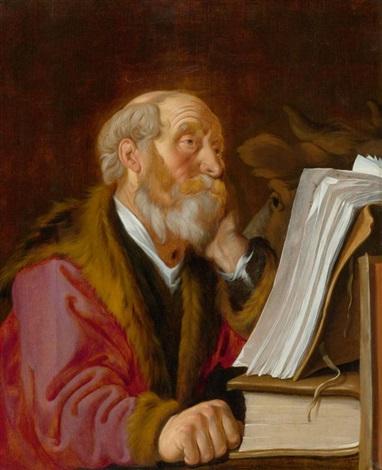 heiliger lukas der evangelist mit dem stier beim lesen by lambert jacobsz