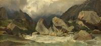 torrent de montagne, rochers, vue sur une vallée by alexandre calame