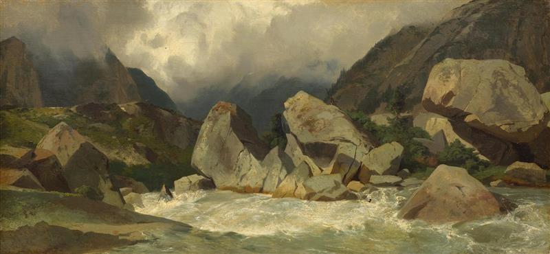 torrent de montagne rochers vue sur une vallée by alexandre calame