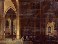 kircheninterieur bei nacht (collab. w/frans francken ii) by peeter neeffs the elder