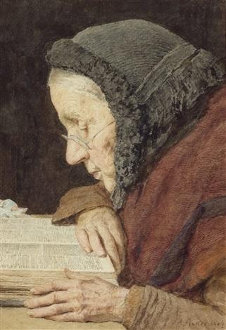 ältere frau in der bibel lesend by albert anker