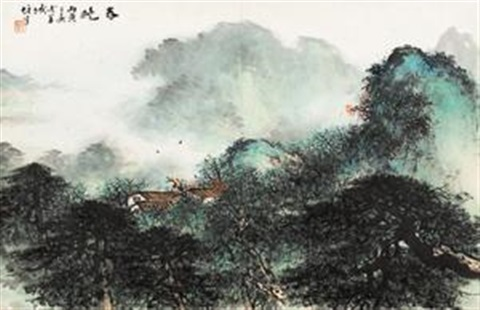 春晓 painting by li xiongcai
