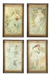 the seasons (winter, spring, summer, fall; set of 4) by alphonse mucha