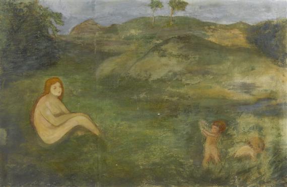 nymphe im wiesengrund als repräsentantin der urzeit fragment by arnold böcklin the elder