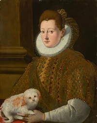 portrait of a noblewoman with a small dog by girolamo macchietti