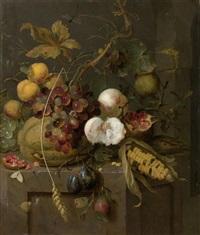 stilleben mit früchten und insekten by jan mortel