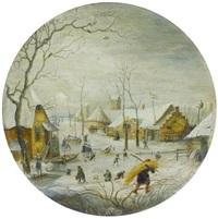 winterlandschaft mit zugefrorenem fluss, im vordergrund schlittschuhläufer und ein heuträger by hendrick avercamp