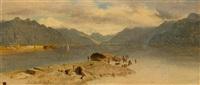le village de la tour sur le lac de genève by alexandre calame