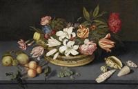 stilleben mit lilien, tulpen, pfingstrosen und anderen blumen in einem korb auf einer platte mit früchten, muscheln und einer fliege by johannes bosschaert