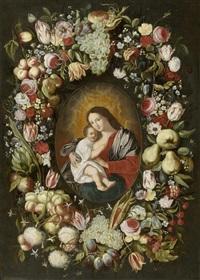 blumen- und früchtekranz um ein bildnis der madonna mit kind by philippe de marlier