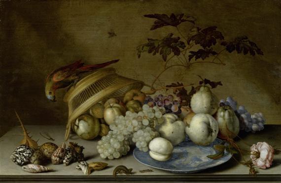 stilleben mit früchten auf einem porzellanteller einem papagei auf einem flechtkorb muscheln und insekten by balthasar van der ast