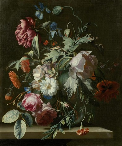 rosen mohnblumen iriden und andere blumen in einer vase auf einer steinplatte by simon pietersz verelst