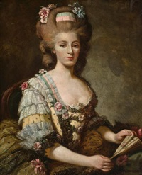 a portrait of a lady wearing a lace-trimmed yellow dress and holding a fan by antoine vestier