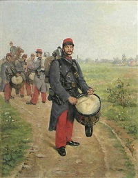 french 28th infantry regiment drummers in the field by pierre petit-gérard