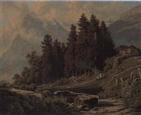berglandschaft mit hirte und weidenden ziegen by johann rudolf rapp