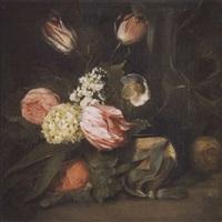 stilleben mit tulpen auf einer steinplatte by dirk de bray