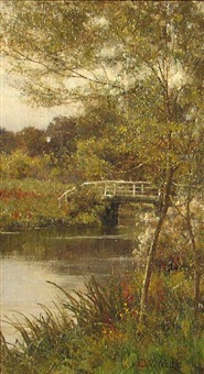 summer - a bridge over a stream by edward wilkins waite