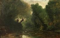 a river landscape by gustave eugène castan