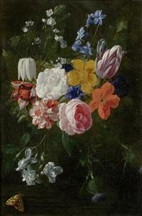 blumenbouquet mit rosen und tulpen by nicolaes van veerendael