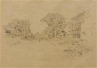 sitzender alter mann mit pfeife (+ landschaftsskizze, verso) by albert anker