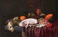 stillleben mit einem schinken, austern und früchten auf einem tisch by jan pauwel gillemans the elder