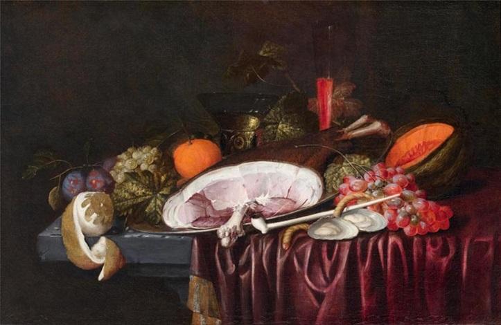 stillleben mit einem schinken austern und früchten auf einem tisch by jan pauwel gillemans the elder