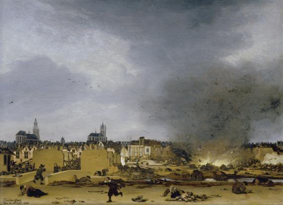 ansicht auf delft mit der explosion von 1654 by egbert lievensz van der poel