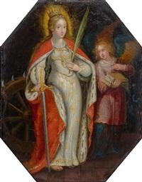 die heilige katharina, in begleitung eines engels by frans francken the younger