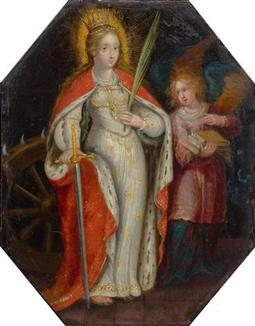 Die Heilige Katharina In Begleitung Eines Engels By Frans
