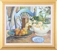 three pears in a green bowl by dot bunn
