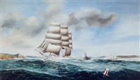 sailing ships entering the harbor by herman r. dietz