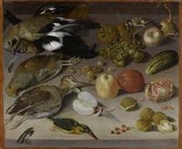 früchte- und gemüsestilleben mit vögeln by georg flegel