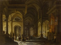 interior of a church with figures by anthonie delorme and anthonie palamedesz