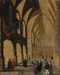 a cathedral interior with figures by hans jurriaensz van baden