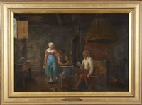 interior genre with figures by constantinus-fidelio coene