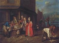 elegante figuren auf einem fischmarkt an einem quai by josef van aken