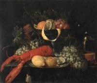 stilleben mit römer, geschirr und früchten by theodor van aenvack