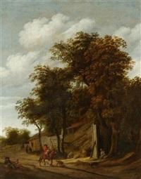 landschaft mit reitern und bauern vor einer bauernhausruine by cornelis gerritsz decker