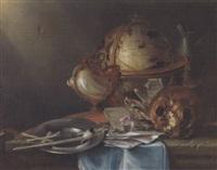 vanitas stillleben mit nautiluspokal und globus by n. l. peschier