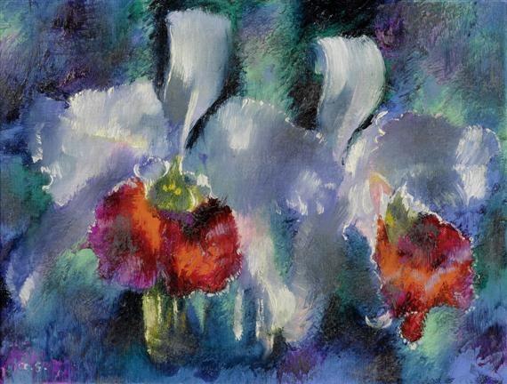 orchideen auf blauem grund by augusto giacometti