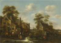 village with figures before an inn by klaes molenaer
