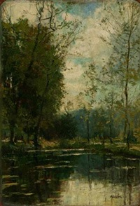 池塘倒影 by alfred théodore joseph bastien
