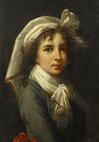 self portrait of the artist, half-length, in a blue dress and red sash, with a white headress by elisabeth louise vigée le brun