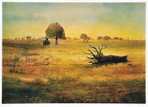 wimmera landscape with horseman and tree stump by arthur merric bloomfield boyd