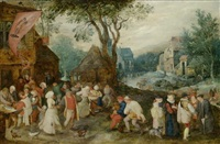 weite dorflandschaft mit st. georgs-kirmes by pieter brueghel the younger